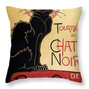 Le Chat Noir Throw Pillow by Nomad Art And  Design