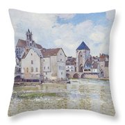 Le Pont De Moret Throw Pillow by Alfred Sisley