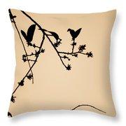 Leaf Birds Throw Pillow by Darryl Dalton