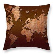 Leather World Map Throw Pillow by Zaira Dzhaubaeva