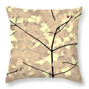 Leaves Fade to Beige Melody Throw Pillow by Jennie Marie Schell