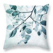 Leaves In Dusty Blue Throw Pillow by Priska Wettstein