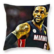 LeBron Throw Pillow by Florian Rodarte