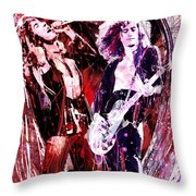 Led Zeppelin - Jimmy Page And Robert Plant Throw Pillow by Ryan RockChromatic
