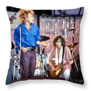 Led Zeppelin Page And Plant Live Aid 1985 Throw Pillow by Chuck Spang