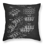 Lego Toy Building Brick Patent - Dark Throw Pillow by Aged Pixel