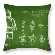 Lego toy Figure Patent Drawing from 1979 - Green Throw Pillow by Aged Pixel