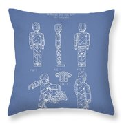Lego Toy Figure Patent - Light Blue Throw Pillow by Aged Pixel