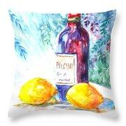 Lemons and Wine and a Little Sunshine Throw Pillow by Carol Wisniewski
