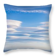 Lenticular Clouds Forming In The Troposphere Throw Pillow by Semmick Photo
