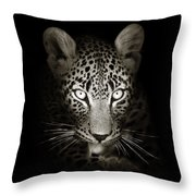 Leopard Portrait In The Dark Throw Pillow by Johan Swanepoel