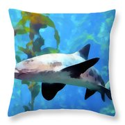 Leopard Shark Watercolor Throw Pillow by Barbara Snyder