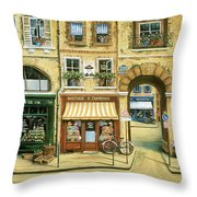 Les Rues De Paris Throw Pillow by Marilyn Dunlap