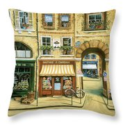 Les Rues De Paris Throw Pillow by Marilyn Dunlap