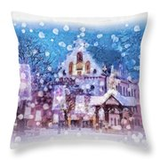 Let It Snow Throw Pillow by Mo T