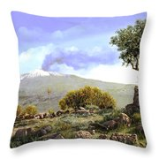 l'Etna  Throw Pillow by Guido Borelli