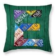 Letter E Alphabet Vintage License Plate Art Throw Pillow by Design Turnpike