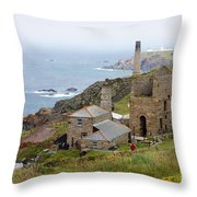 Levant Mine And Beam Engine Throw Pillow by Terri Waters