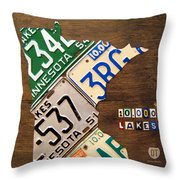 License Plate Map of Minnesota by Design Turnpike Throw Pillow by Design Turnpike