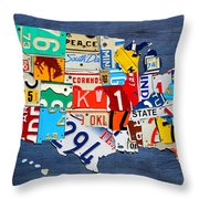 License Plate Map Of The United States - Small On Blue Throw Pillow by Design Turnpike