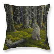 Life in the woodland Throw Pillow by Veikko Suikkanen