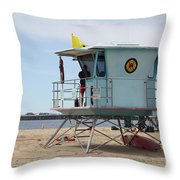Lifeguard Shack At The Santa Cruz Beach Boardwalk California 5D23710 Throw Pillow by Wingsdomain Art and Photography