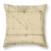 Lifting By Means Of Pulleys Of Beam With Extremity Fixed To Ground From Atlantic Codex Throw Pillow by Leonardo Da Vinci