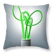 Light Bulb Green Energy Flourescent Throw Pillow by Allan Swart