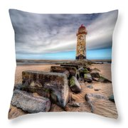 Lighthouse At Talacre  Throw Pillow by Adrian Evans