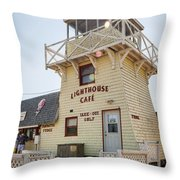 Lighthouse Cafe In North Rustico Throw Pillow by Elena Elisseeva