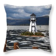 Lighthouse In Lake Dillon Throw Pillow by Juli Scalzi