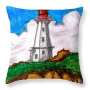 Lighthouse Nova Scotia Throw Pillow by Anita Lewis