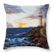 Lighthouse Road At Sunset Throw Pillow by Lee Piper