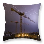 Lightings Above City Throw Pillow by Michal Boubin