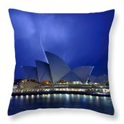 Lightning above The Opera House Throw Pillow by Kaye Menner
