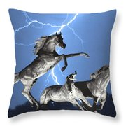 Lightning At Horse World BW Color Print Throw Pillow by James BO  Insogna
