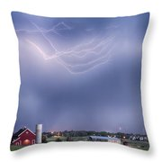 Lightning Storm And The Big Red Barn Throw Pillow by James BO  Insogna