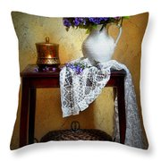 Lilacs And Lace Throw Pillow by Diana Angstadt