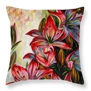 Lilies Throw Pillow by Harsh Malik