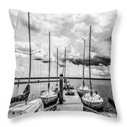 Lined Up At The Dock Throw Pillow by Kathy Liebrum Bailey