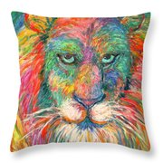 Lion Explosion Throw Pillow by Kendall Kessler