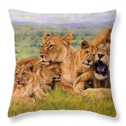 Lion Family Throw Pillow by David Stribbling
