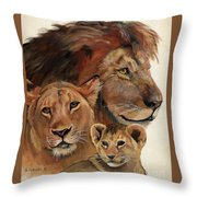 Lion Family Portrait Throw Pillow by Suzanne Schaefer