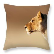 Lioness Portrait Throw Pillow by Johan Swanepoel