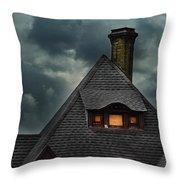 Lit Attic Window Throw Pillow by Jill Battaglia