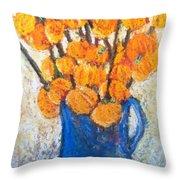 Little Blue Jug Throw Pillow by Sherry Harradence