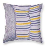 Little Feet-Yellow Throw Pillow by Molly McPherson