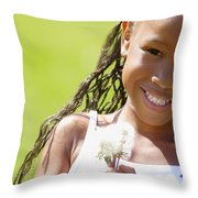Little Girl Holding Weeds Throw Pillow by Hanson Ng