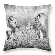Little Lion Cub Brothers Throw Pillow by Adam Romanowicz