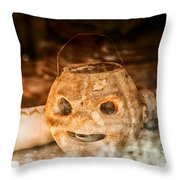 Little Orange Face Throw Pillow by Cat Connor